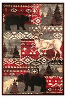 Wildlife Lodge - 2'x4' Multicolor, Pine Tree, Bear, Deer Area Rug - 523