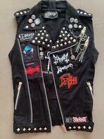 Custom VIXXSIN Punk Rock Goth Metal Biker Studded Pentagram Vest w/ Patches Pins