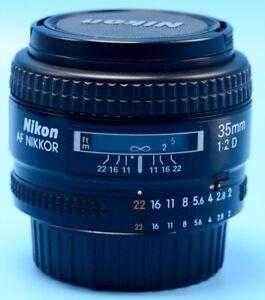Nikon NIKKOR AF 35mm f/2D Lens Exc++W/Caps