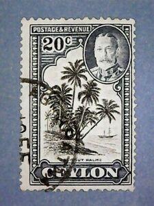 Ceylon 1936 KGV 20c Black & Grey-Blue. SG374. Wmk Mult Script CA. P12 x 13. Used