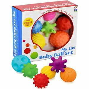 6 Piece First Baby Ball Set Baby Hand Massage Multi Textured Sensory Soft Balls
