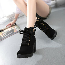Fashion Women High Heel Lace Up Ankle Martin Boots Ladies Buckle Platform Shoes