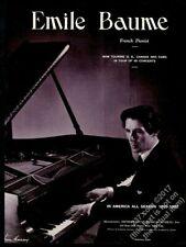1939 Emile Baume photo piano recital tour booking vintage trade print ad