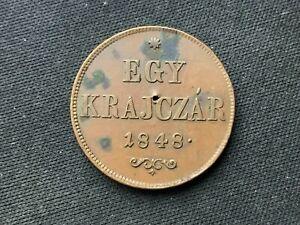 1848 Hungary 1 Krajczar Coin XF     Copper World Coin      #C280