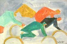 Vintage Abstract Canvas Signed Lyonel Feininger,  Modern  Art  20th Century