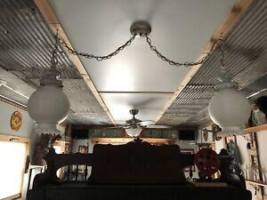 vintage Lights Globes decorative designs hanging light fixtures white glass