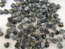 180pcs 10mm Acrylic Gold Striped HEART Water Color Spacer Beads BLACK DIAMOND