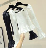 Women Punk Lace up Puff Sleeve Gothic Pullover Slim Fit Waist Solid Blouse Tops