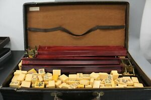Rottgames Vintage Bakelite Mahjong Set 154 Tiles 5 Tile Racks with Case