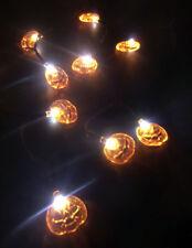 Orange Jack O Lantern Pumpkins 10 LED Fairy String Lights Battery Op 2AA Crafts
