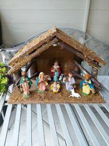 Wooden Nativity Scene Vintage Baby Jesus Manger  Wise Men Christmas