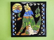 "Ceramic Tile 6""x6"" Southwest coyote dog cactus sky vibrant colors trivet NEW I35"