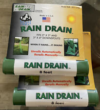 """Lot Of 2 Rain Drain Away Rd8 Extender Roll Out Fits 2""""x 3"""" & 3""""x 4"""" Downspouts"""