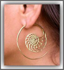 Vintage Gold Gypsy Women Unique Design Spiral Earring Dangle Brass Hoop Tribal