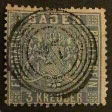 Baden 3k Prussian Blue, SG14 P13.5, 1860-62 used, nicely centred cancellation