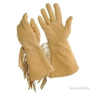 Mens Leather Fringed Frontier Gloves - Soft Tan - Sizes M/L or L/XL