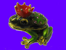 Royal Prince Charming Frog Toad Trinket Box CZ Red Ruby Pendant Gift Heart Love
