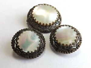 Vintage 1940s 1950s Brooch and Earrings Demi-Parure MOTHER OF PEARL FREE P&P