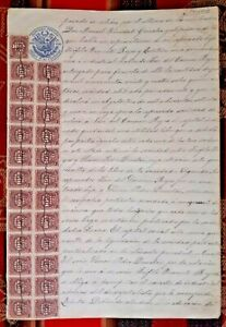 PERU Pacific War revenue multiples 1880 1881 on sealed document 20 ctvs blue