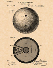 "1894 Bowling Ball by F.G. Dokkenwadel Vintage U.S. Patent  8.5"" x 11"" Art Print"