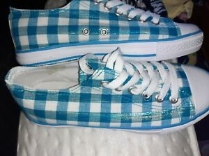 Size 5/38. Turquoise & White Gingham Checked Lace Up Pumps Trainers