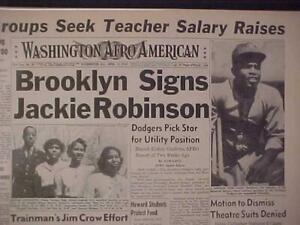 VINTAGE NEWSPAPER HEADLINE ~BROOKLYN DODGERS BASEBALL SIGNS JACKIE ROBINSON 1947