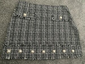 Ladies RIVER ISLAND shirt Black White Check Skirt Size 14-16