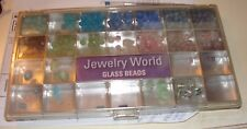 GLASS BEADS JEWELRY WORLD 180+ ASSORTED GLASS BEADS IN CASE