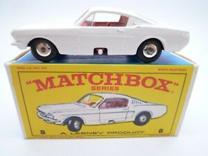 VINTAGE MATCHBOX LESNEY No.8e FORD MUSTANG IN ORIGINAL BOX ISSUED 1966