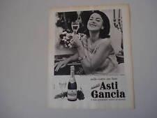 advertising Pubblicità 1962 SPUMANTE ASTI GANCIA