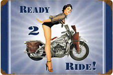 US Navy Ready 2 Ride PinUp rusted metal sign  450mm x 300mm (pst)