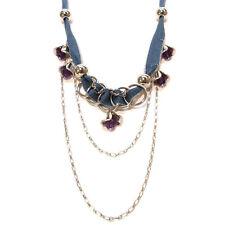 COLLIER SAUTOIR idée cadeau - chaînes et JEAN argenté bleu  fleurs clochettes