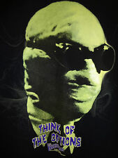 GILDAN Glow In The Dark THINK OF THE OPTIONS Invisible Man Black T-Shirt Large