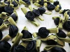 100 Mini Satin Ribbon Swirl Rose Flower Applique/trim/Craft/Green Leaf F32-Black