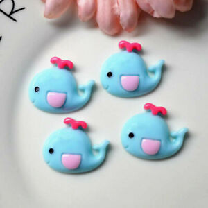 10pc Blue Resin Cartoon Whale Flatback Buttons Cabochons for Crafts Decorations