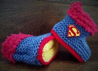 Baby Boy Hand Knitted Crochet Booties Boots Slippers Superman Super Hero 0-12M