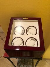 Heiden Quad Watch Winder Box With Glass Lid - Cherry Wood Finish Beautiful