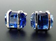 Blue Crystal & Silvertone Cufflinks Nice Color Blue!!