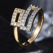 Rectangle Belt Open Band Silver & Gold Filled Crystal Adjustable Women Lady Ring