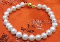 """6-7mm Natural Round White Freshwater Pearl Bracelet for Women Jewelry 7.5"""" b233"""