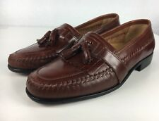 David Taylor O'hare Brown Leather Dress Casual Tassel Loafers Shoes Men Size 9M