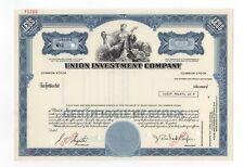 SPECIMEN - Union Investment Company Stock Certificate