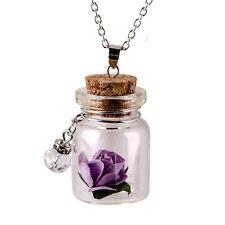 Mini Jewelry Gift Fluorescent Vintage Wishing Bottle Flower Necklace Glowing Purple
