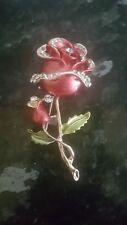 Diamantes de imitación Rosa Roja Broche, 70 Mm x 35 mm ideal de color oro FirstClass