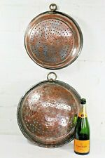 More details for two antique copper cooking sieves large decorative items with brass hanging eyes