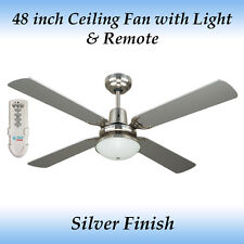 Fias Ramo Silver 4 Blade Ceiling Fan with Light and Remote