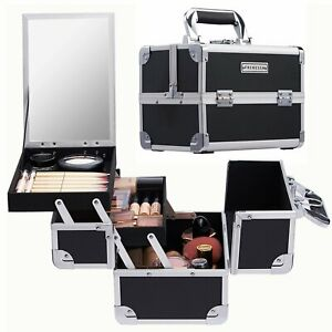 Large Black Beauty Box Cosmetic Make up Vanity Nail Storage Case With Mirror