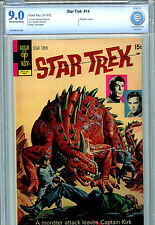 Gold Key Star Trek #14 CBCS 9.0 VF/NM 1972 Spock Kirk Photo insert Cover B5