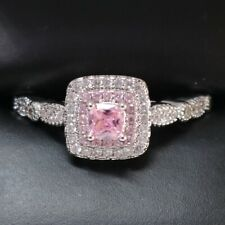 Sparkling Princess Pink Sapphire Ring Women Jewelry 14K White Gold Plated
