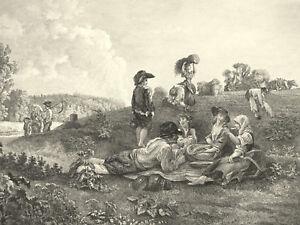 Landarbeiter-PICKNICK 1747 Heuwagen Schöner Kupferstich Racine Kloigel